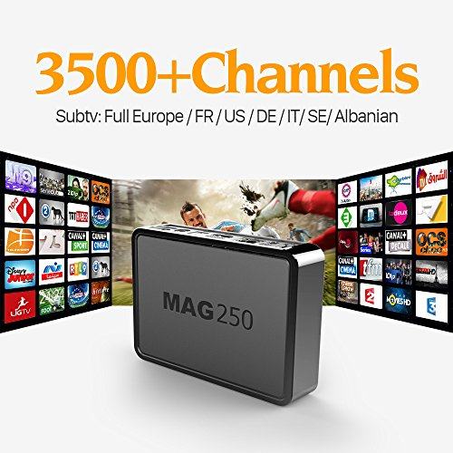 Mag 250 Linux System TV Box With Free 1Year Subtv Iptv Account Europe French Italy Canada Russia USA Arabic HD Channels
