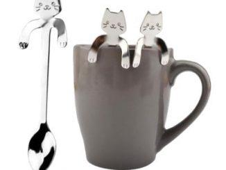 Creative Stainless Steel Cartoon Cat Hang Handle Spoon 1pc