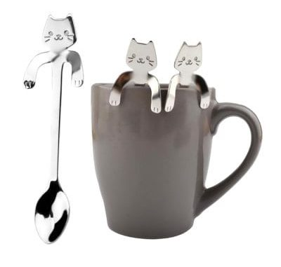 Creative Stainless Steel Cartoon Cat Hang Handle Spoon 1pc