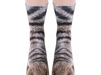 Unisex Adult Animal Paw Crew Print  Socks