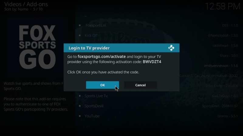 how to activate fox sports go on kodi
