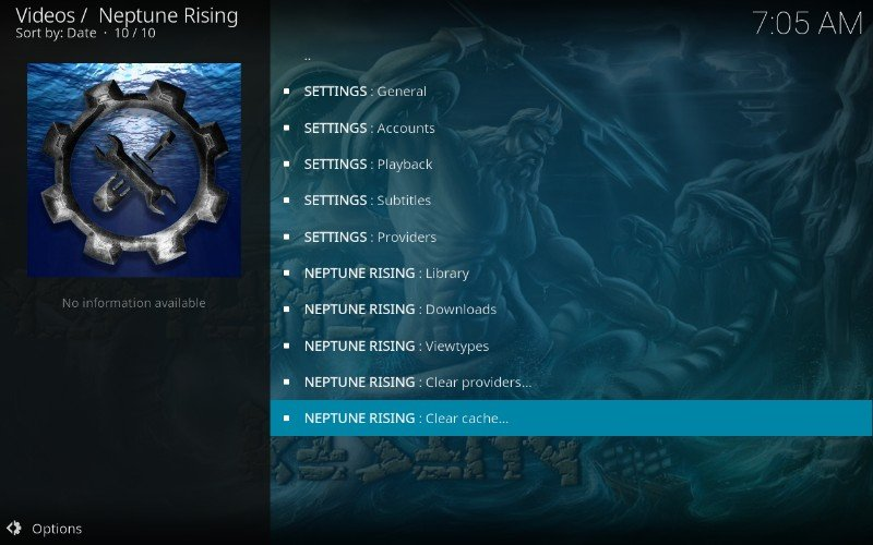 clear cache on neptune rising kodi addon