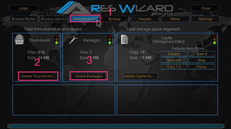 ares wizard kodi maintenance
