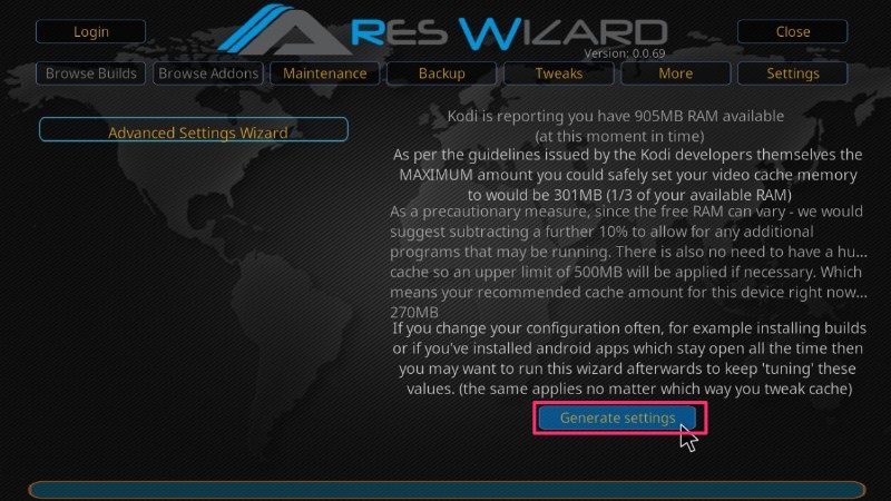 ares wizard advanced settings to optimize kodi cache