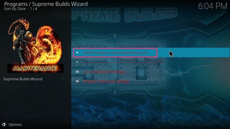 supreme build advanced settings