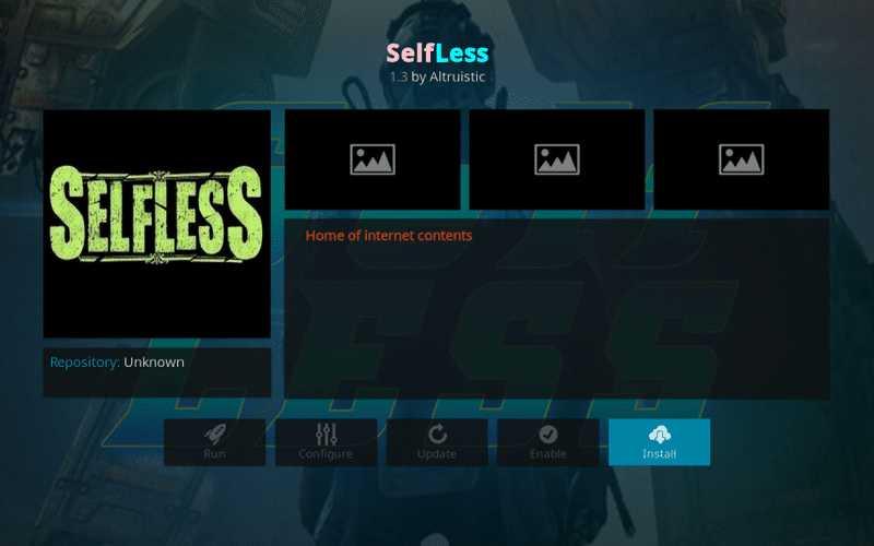 steps to install selfless on kodi
