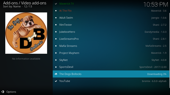 download the dogs bollocks kodi addon