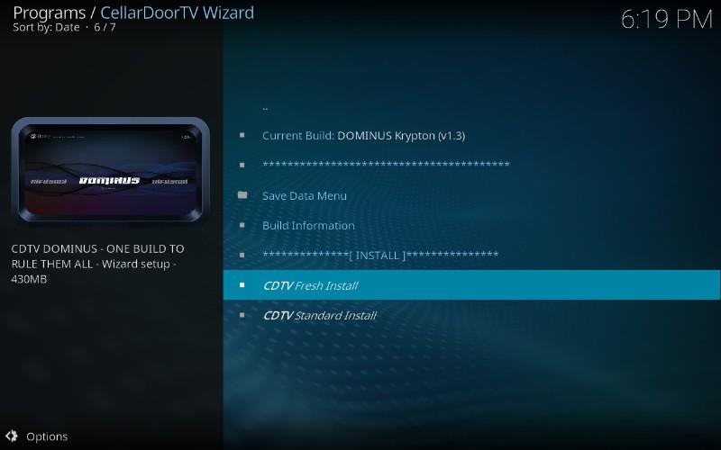 install cellardoor tv build on kodi