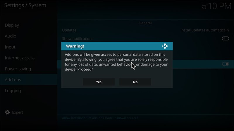 kodi unknown sources warning