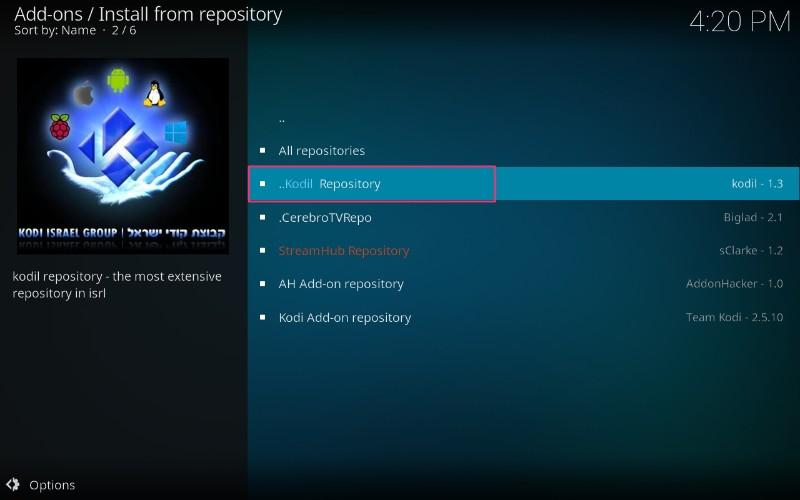 open kodil repository on kodi
