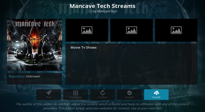 Mancave Tech Streams Addon Guide