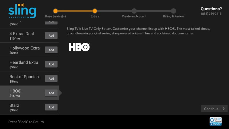 hbo on sling tv