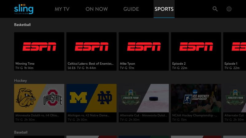sports streaming on sling tv
