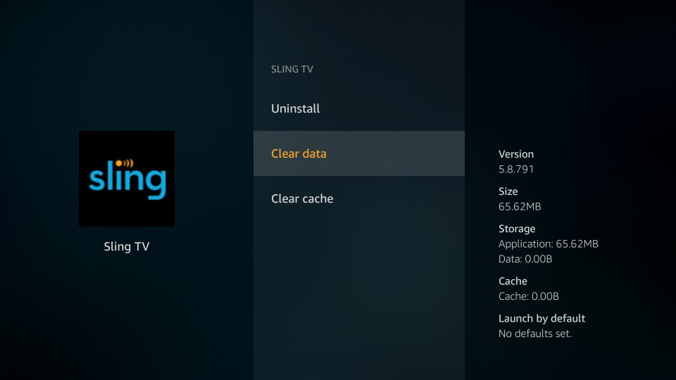 clear sling tv data on firestick