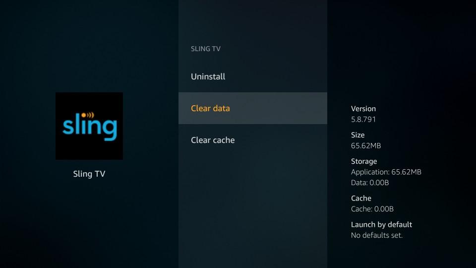clear sling tv data on firestick