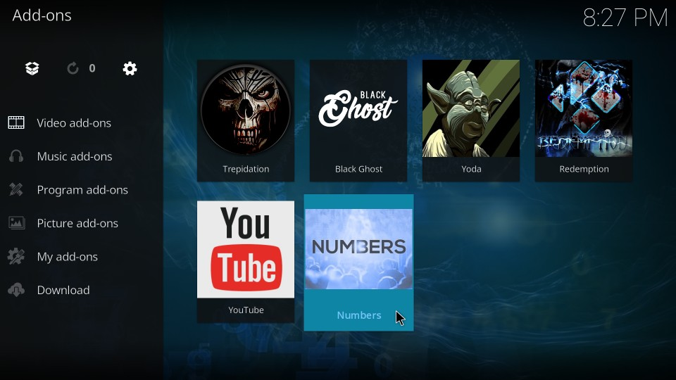 how to use numbers on kodi