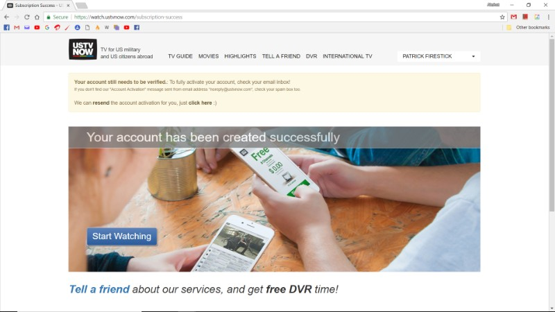 ustvnow sign up process completed