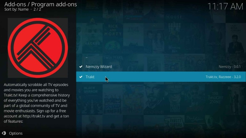 setting up trakt on kodi