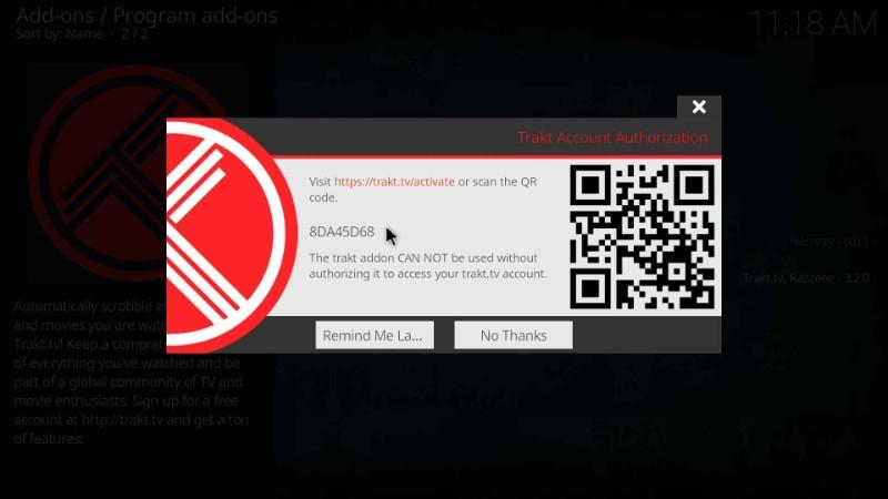 trakt activation code on kodi