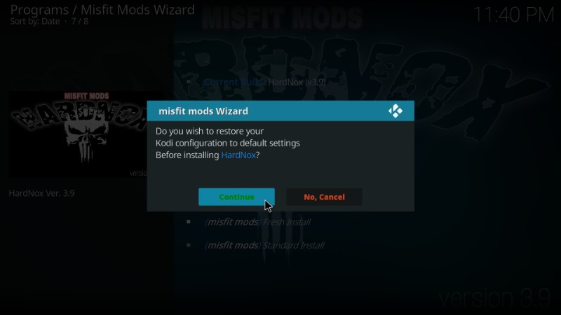 restore kodi to default factory settings