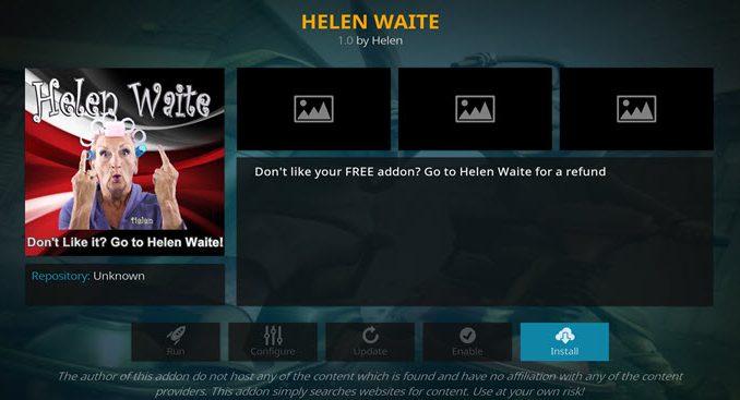 Helen Waite Addon Guide - Kodi Reviews