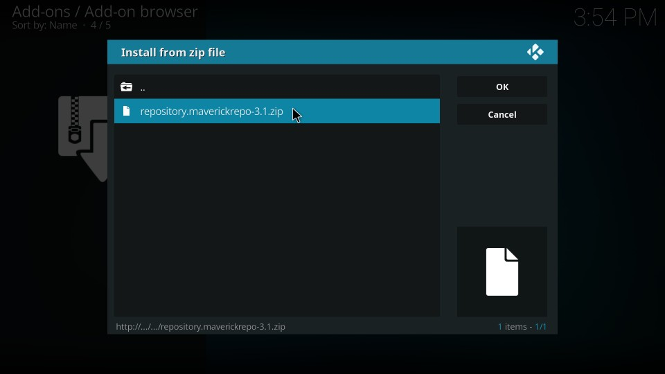 copy and paste kodi addon zip file