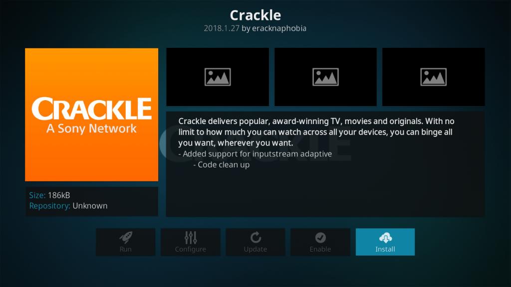 Crackle Kodi Addon - Install