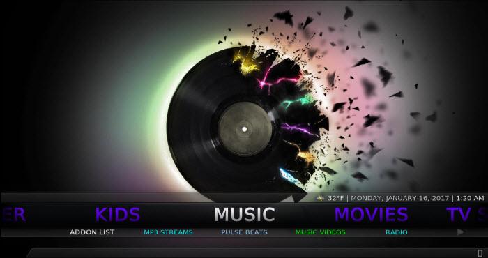 Kodi No Limits build Music screen