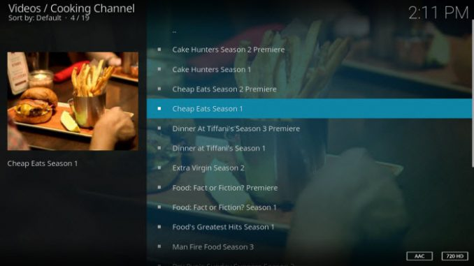 Cooking Channel Addon Guide - Kodi Reviews