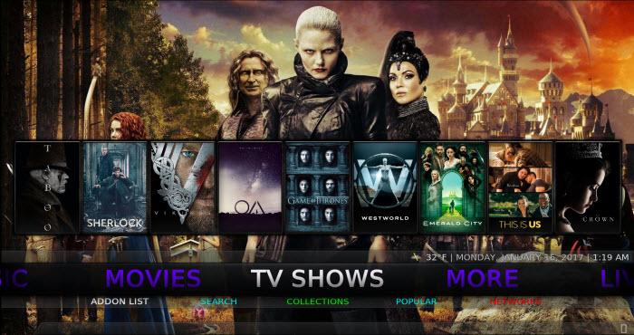 Kodi No Limits build TV Shows screen
