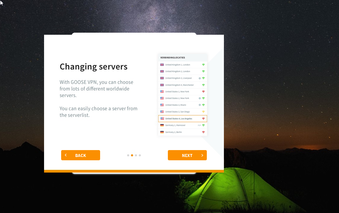 GOOSE VPN Dashboard Servers