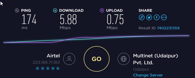 GOOSE VPN Speed Test Baseline