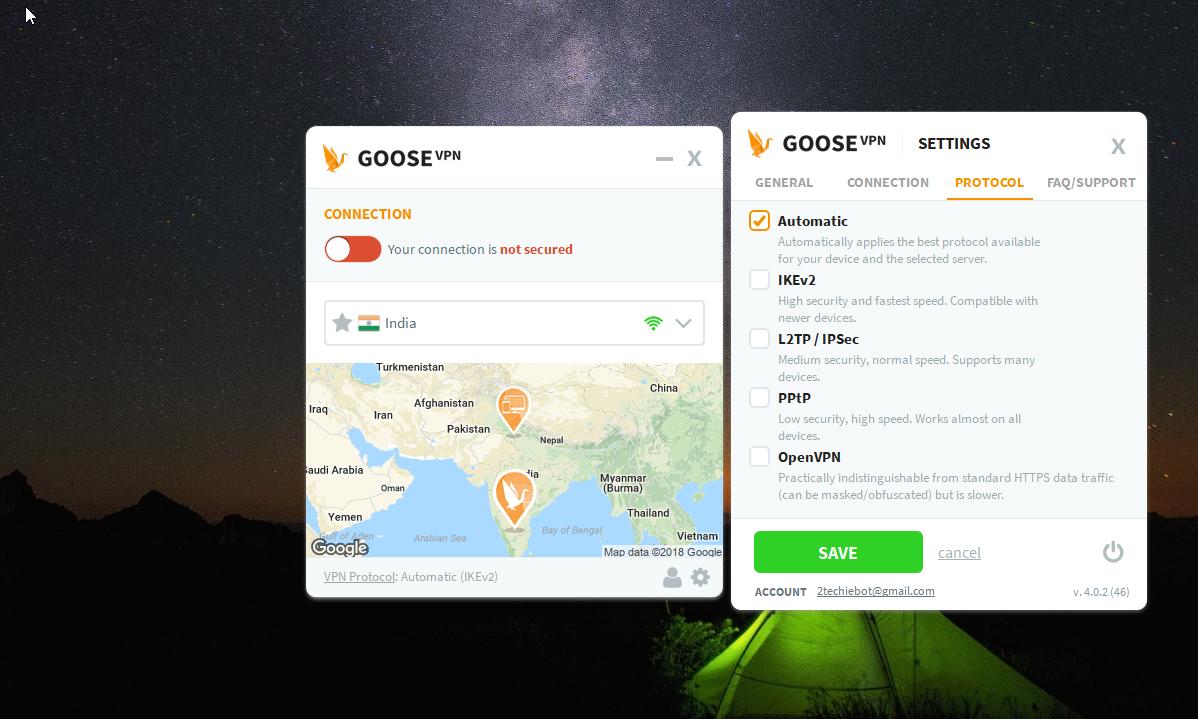GOOSE VPN Dashboard Protocol Settings