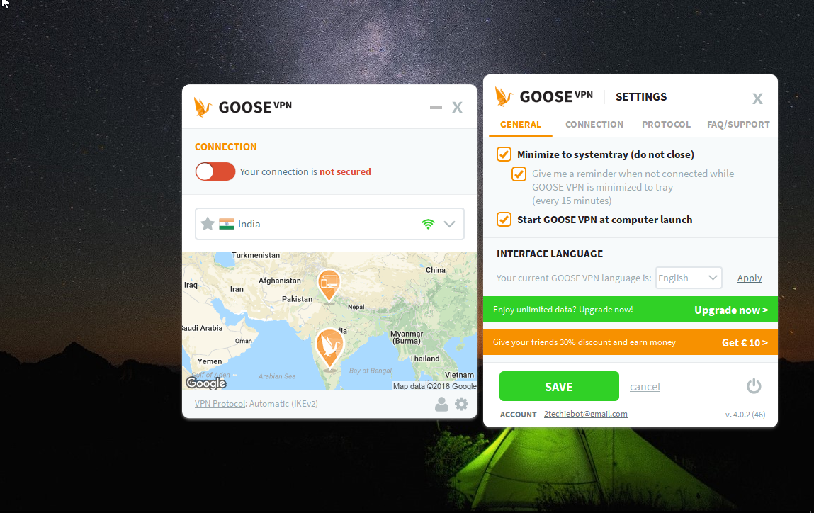 GOOSE VPN Dashboard Settings