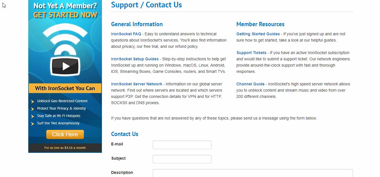 IronSocket vpn Customer Support
