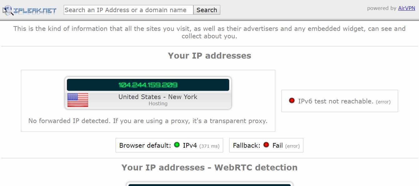 IronSocket vpn DNS Leak test