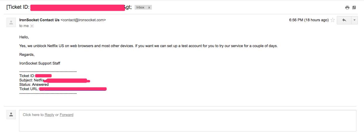 IronSocket vpn Customer Support Response