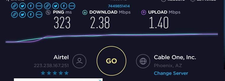 IronSocket vpn Speedtest US server