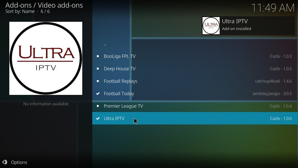 ultra iptv kodi addon installed