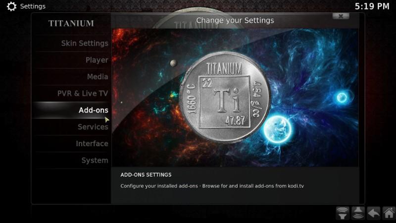 addons settings in titanium kodi build