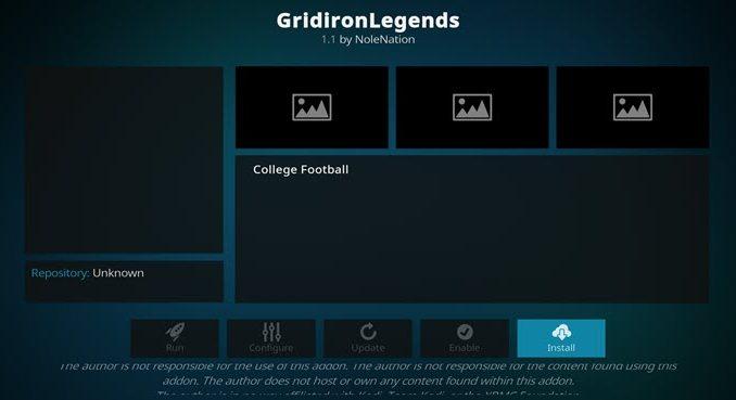GridironLegends Addon Guide - Kodi Reviews