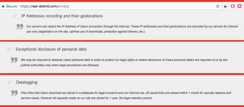 real debrid privacy policy
