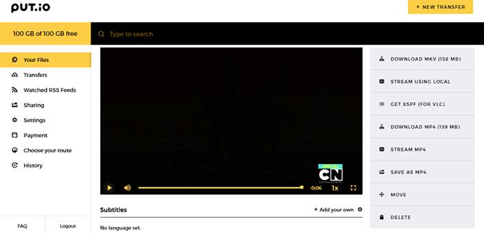 Put.io Media Streaming