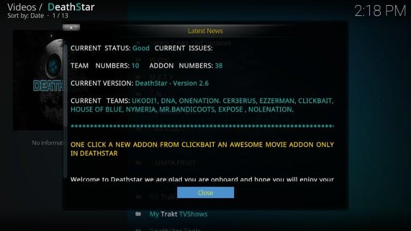 how to use deathstar kodi addon