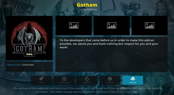 Gotham Addon Guide - Kodi Reviews