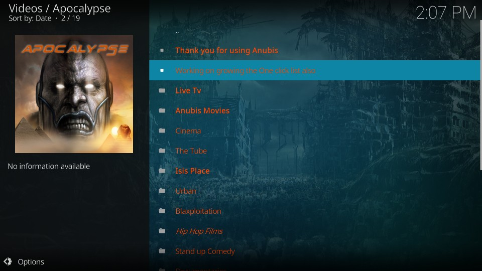 how to use Apocalypse on kodi