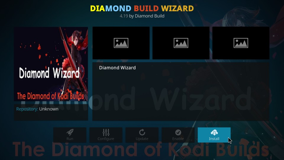 how to install diamond build wizard on kodi