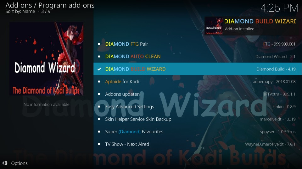 install diamond dust kodi build