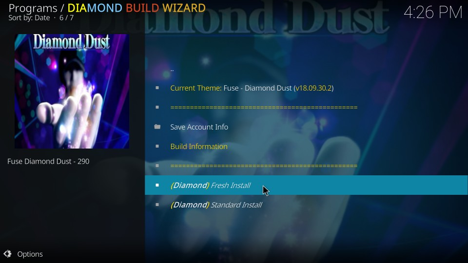 fresh install for diamond dust kodi build
