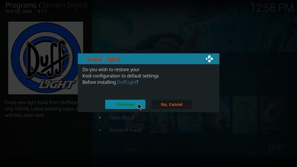 duff light kodi build installation